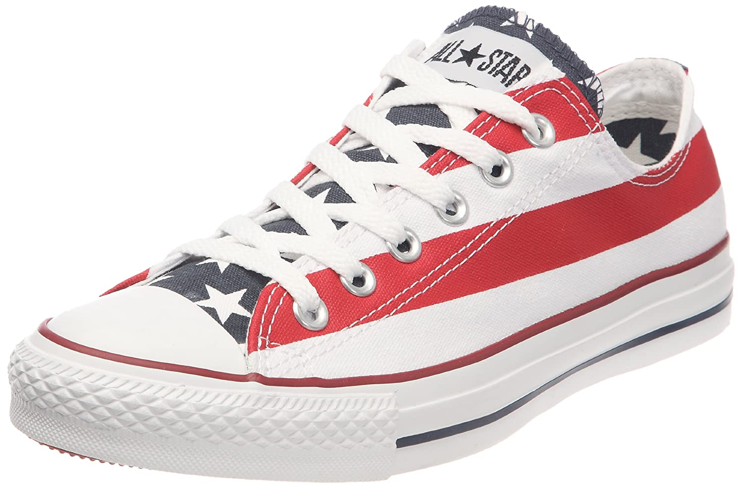 Converse Unisex Classic Chuck Taylor All Star Low Top Sneakers B004OX3JOI 7.5 B(M) US Women / 5.5 D(M) US Men|White/Blue/Red