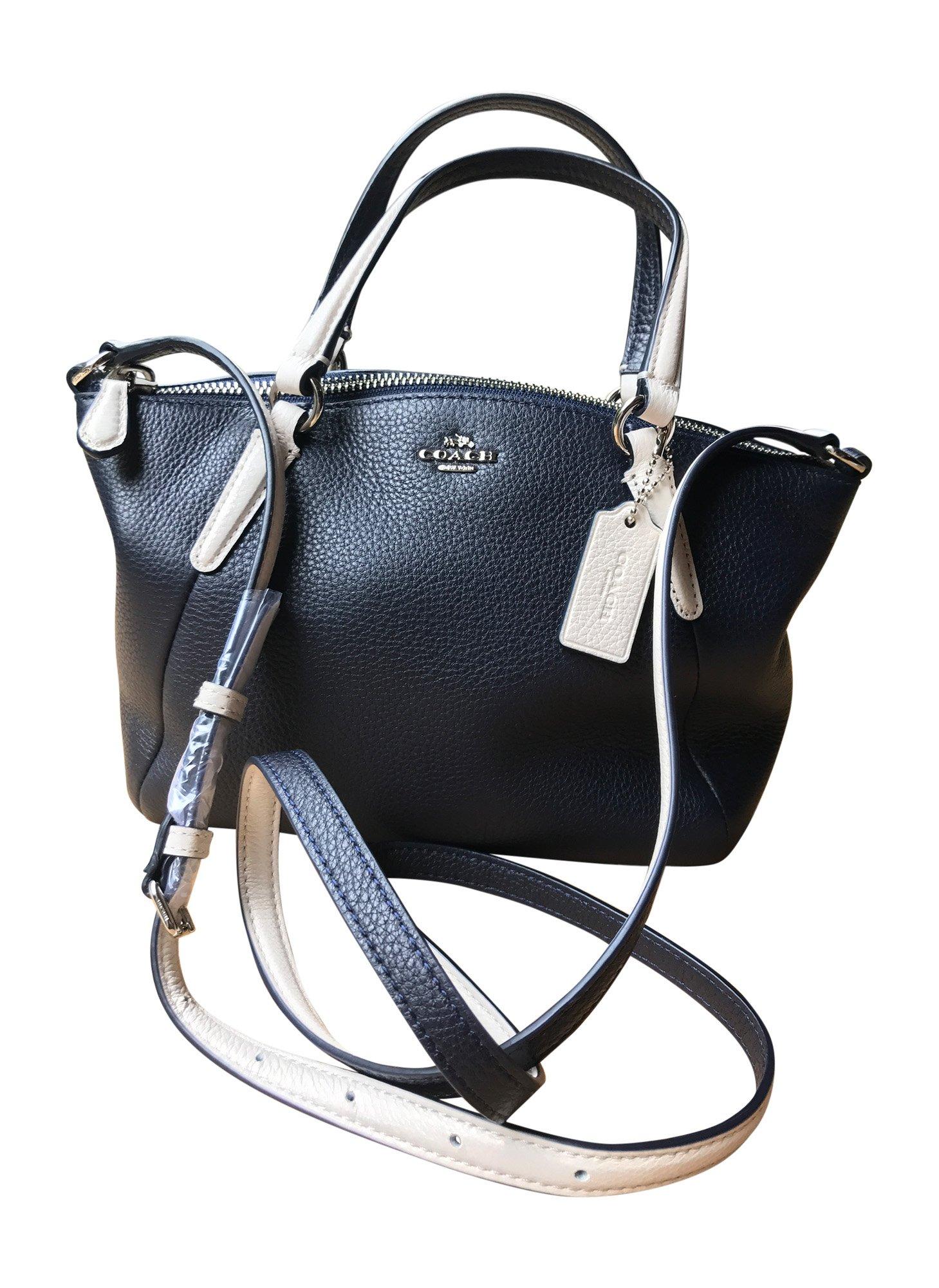 Galleon - Coach Pebble Leather Mini Kelsey Satchel Crossbody Handbag,  Silver, Midnight, Chalk f39ae376e0