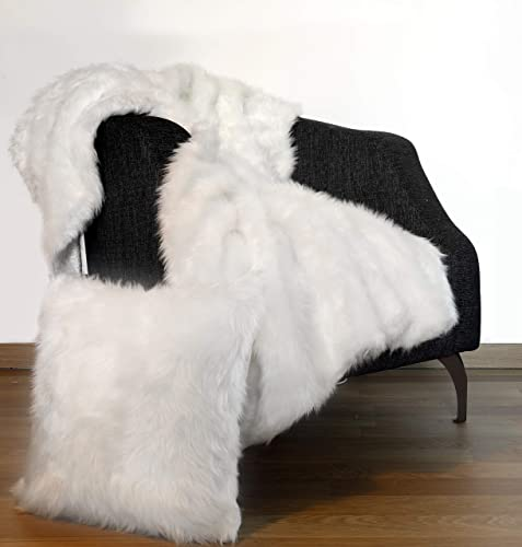 Fluffy Faux Fur Rugs / Throw 4×5 Feet 1 Pillow case Cover 18″x18″ mid Long Pile Sheepskin Area Rug / Throw Blanket