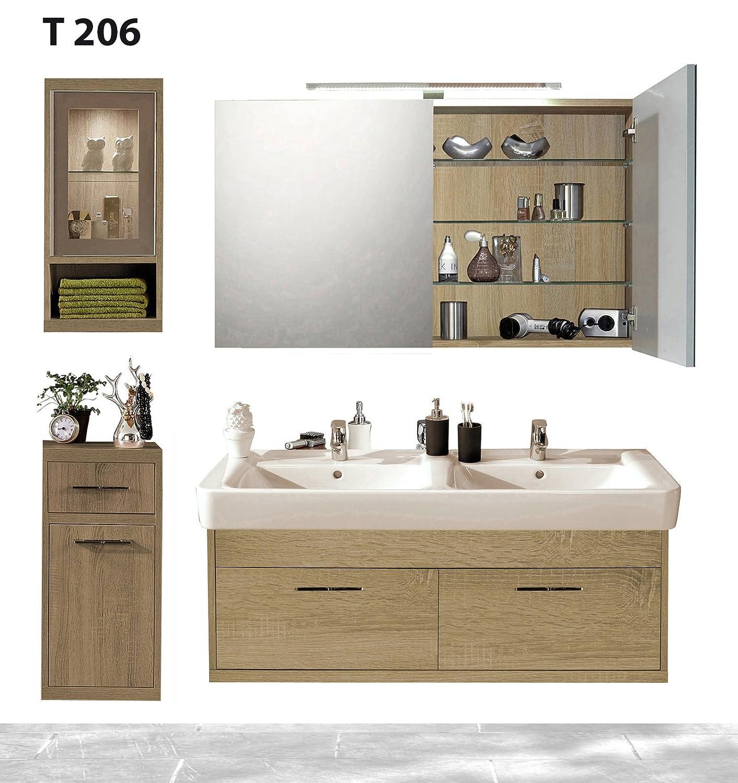 Badserie TIMBERY T206, Waschtisch, Spiegelschrank, Ober-u. Unterschrank in SOE