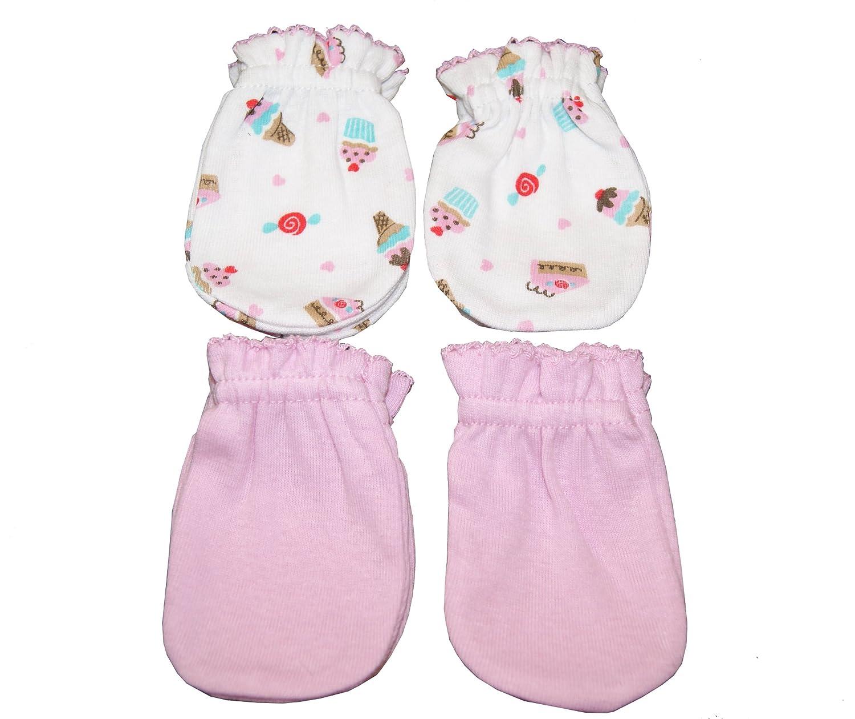 Little Cupcake Pink 4 Pairs Cotton Newborn Baby//infant No Scratch Mittens Gloves