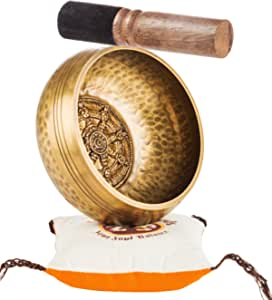 Tibetan Singing Bowl Set By TANTRA SOUNDS - Third Eye Chakra Healing & Meditation Yoga Prayer Bowl with Mallet Cushion & Bag Dharmachakra Buddha 4.5 Bowl Made in Nepal includes Gift Ebook by Email