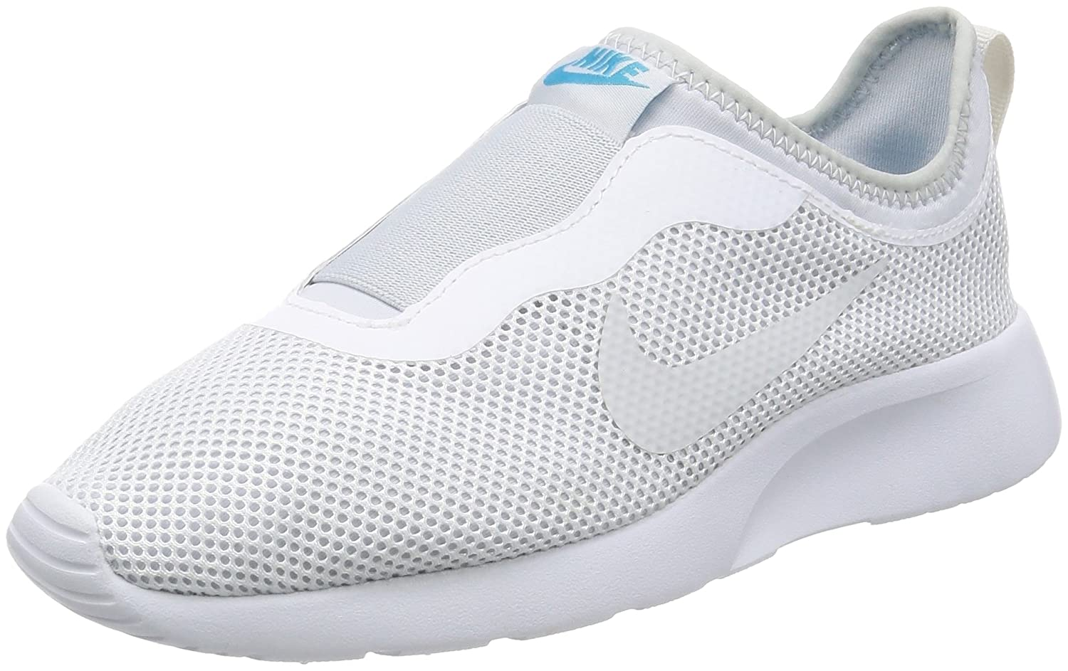 NIKE Women's Tanjun Slip-On Shoe B01K35U1W8 7.5 B(M) US|White/Pure Platinum/Chlorine Blue