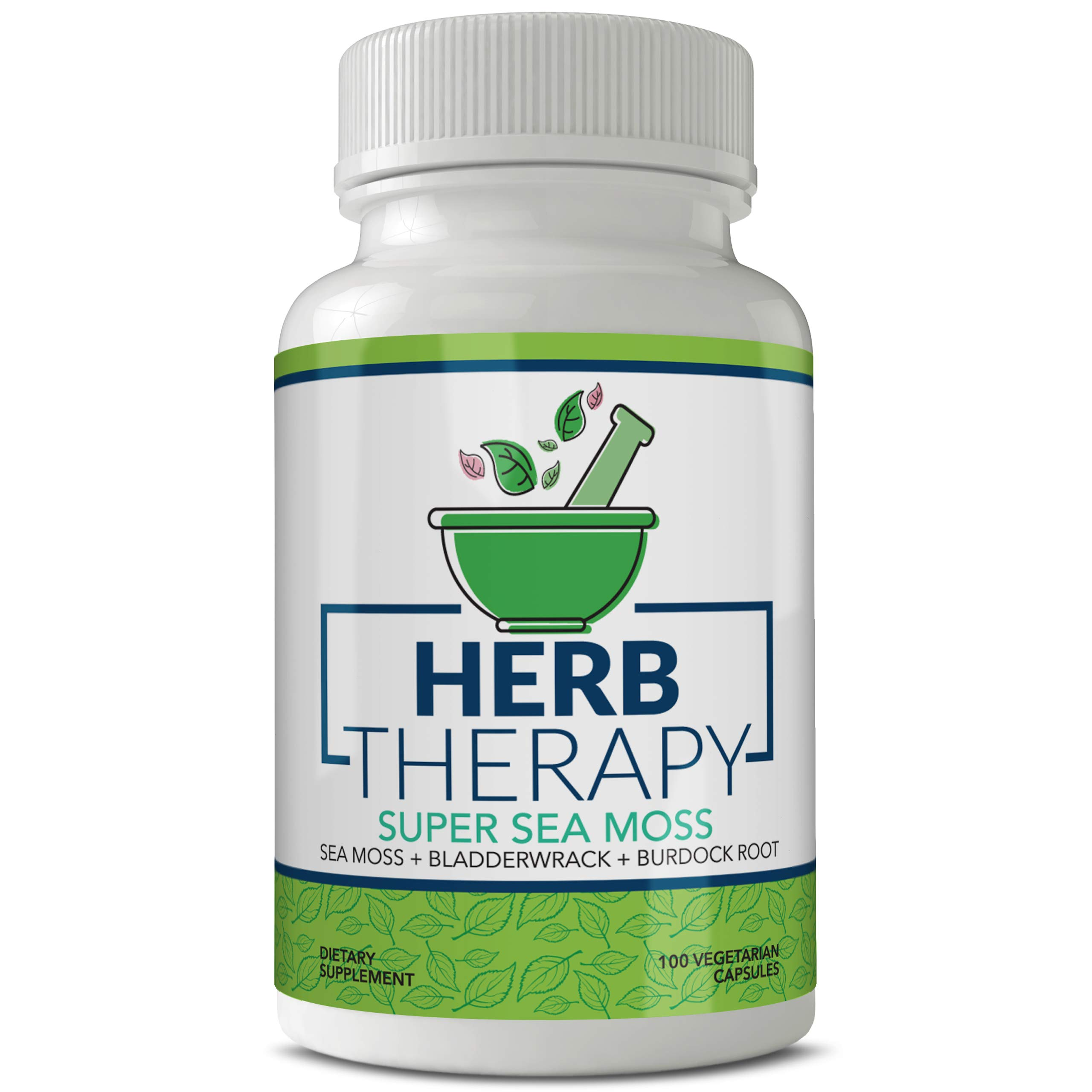 Herb Therapy Super Sea Moss Organic Irish Sea Moss Capsules (100ct) Organic Burdock Root Capsules, Sea Moss and Bladderwrack Capsules - No Fillers - Seamoss Raw Supplement