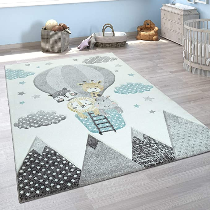 Amazon Com Children S Room Rug Cute Hot Air Balloon Clouds Cheerful Animals Pastel In Cream Size 2 8 X 4 11 Home Kitchen