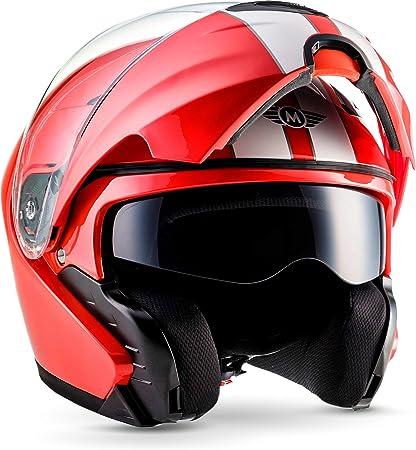 Moto Helmets F19 Racing Red Motorrad Helm Klapp Helm Modular Helm Flip Up Integral Helm Motorrad Helm Roller Helm Sport Ece 22 05 Sonnenvisier Schnellverschluss Tasche Xs 53 54cm Auto