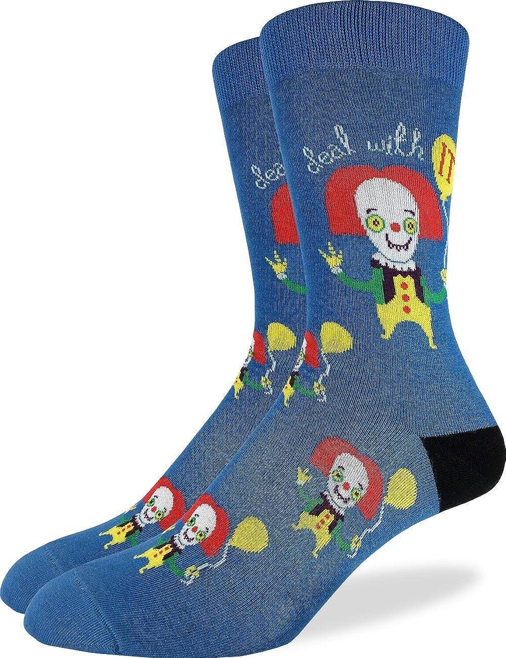Good Luck Sock Men's Clown Crew Socks - Blue, Shoe Size 7-12 1329