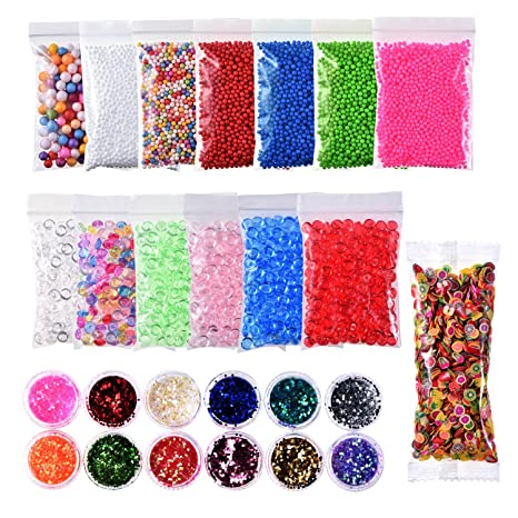 26 piezas Kit para hacer Slime suministros incluye 6 colores perlas de Pecera para Slime con ...