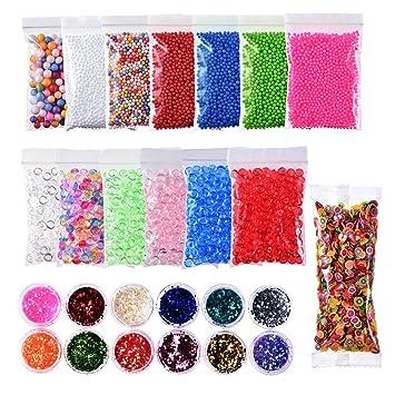 26 piezas Kit para hacer Slime suministros incluye 6 colores perlas de Pecera para Slime con