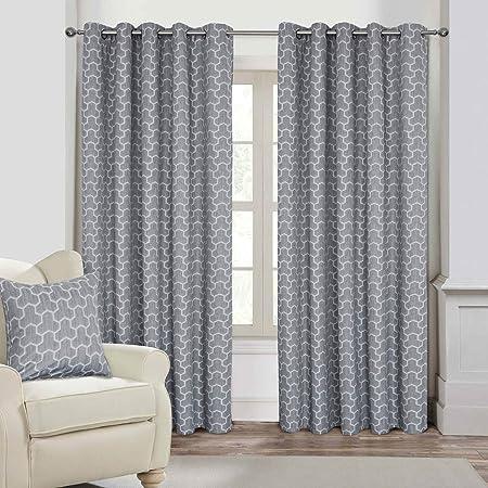 geometric blackout curtains insulated blackout homescapes grey geometric blackout curtains pair width 117cm 46quot 182cm 72quot 46