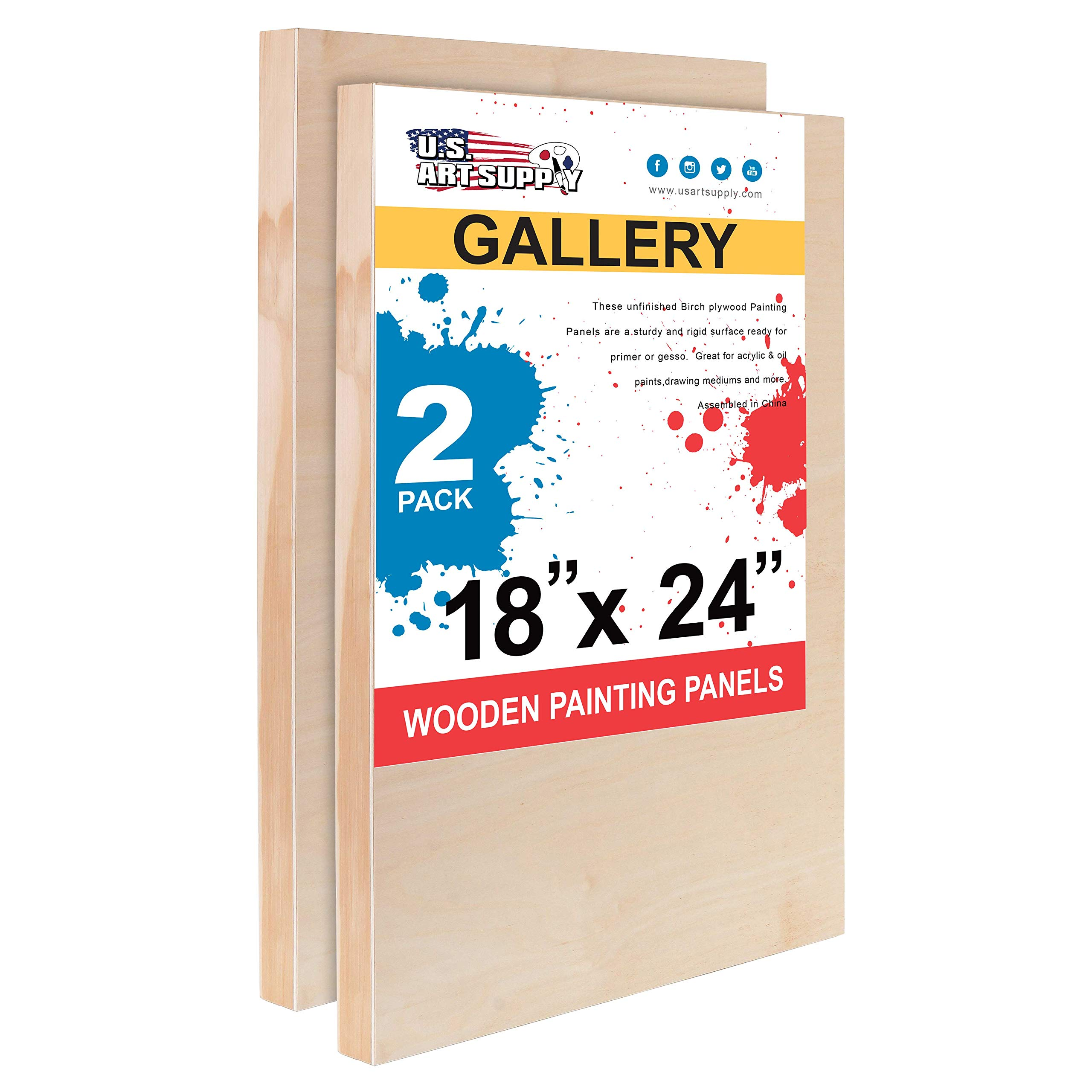 U.S. Art Supply 18'' x 24'' Birch Wood Paint Pouring Panel Boards, Gallery 1-1/2'' Deep Cradle (Pack of 2) - Artist Depth Wooden Wall Canvases - Painting Mixed-Media Craft, Acrylic, Oil, Encaustic by U.S. Art Supply