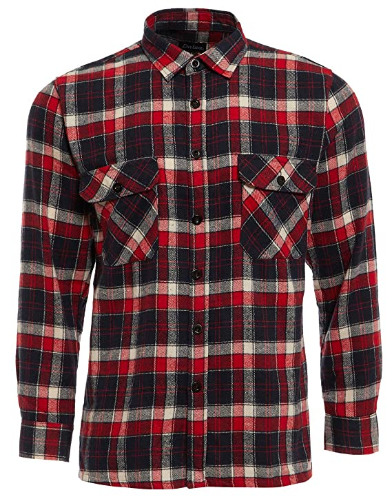 c8ee1663 TB Clothing Mens Work Shirts Brushed Cotton Lumberjack Flannel Long Sleeve Check  Shirt Woven Material Free P&P: Amazon.co.uk: Clothing