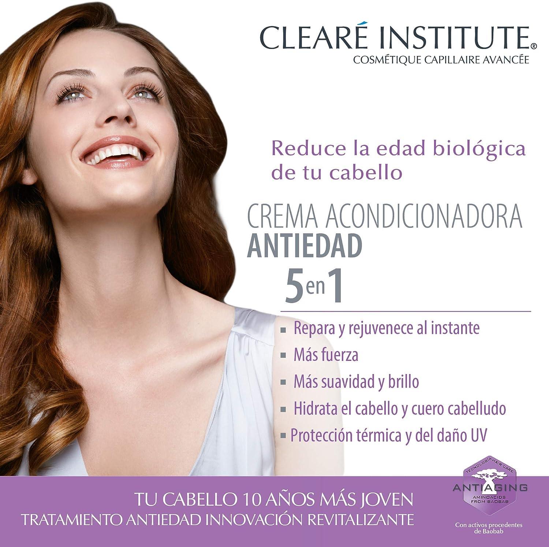 Clearé Institute Crema Acondicionadora Antiedad - Acondiciona, Repara y Rejuvenece al Instante | Sin Sulfatos SLE, SLS y Parabenos | 96% Ingr. ...