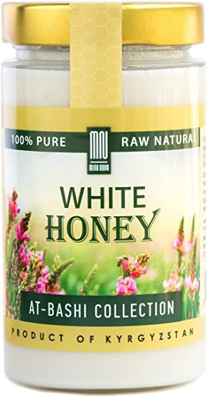 White Honey (15.8 Ounce) Natural Creamed Wildflower Mountain Honey from Central Asia – by Mira Nova