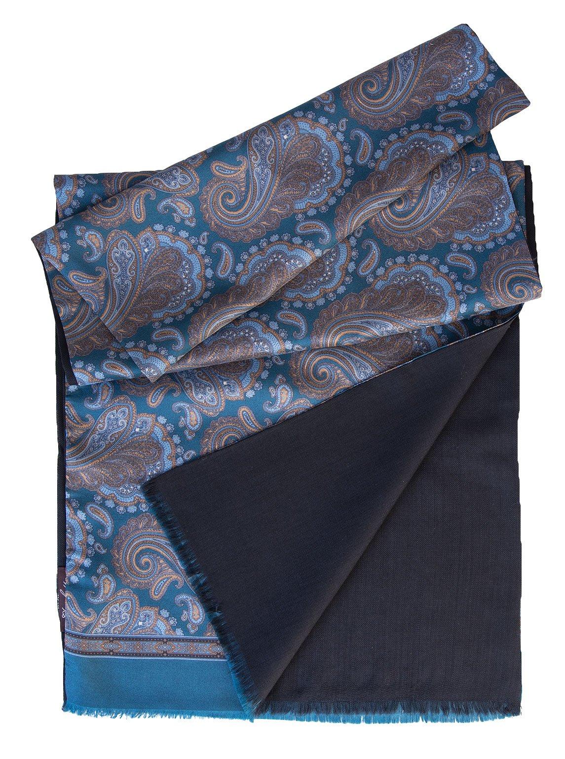 Elizabetta Men's Italian Silk Scarf-Paisley Print-Wool Lined-Ocean Blue