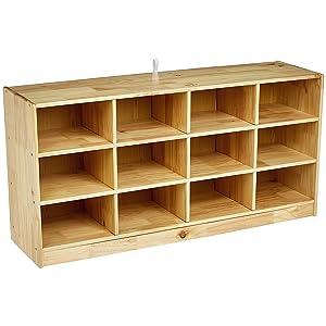 AmazonBasics Wooden 12 Section Horizontal Storage Organizer
