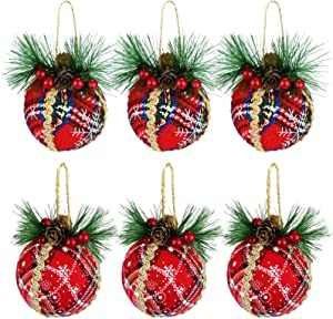 Marrywindix 6 Packs Christmas Ball Ornaments with Pine Cones and Berries Red Plaid Christmas Tree Hanging Ball Ornaments for Christmas Festive Holiday Wedding Party Decoration
