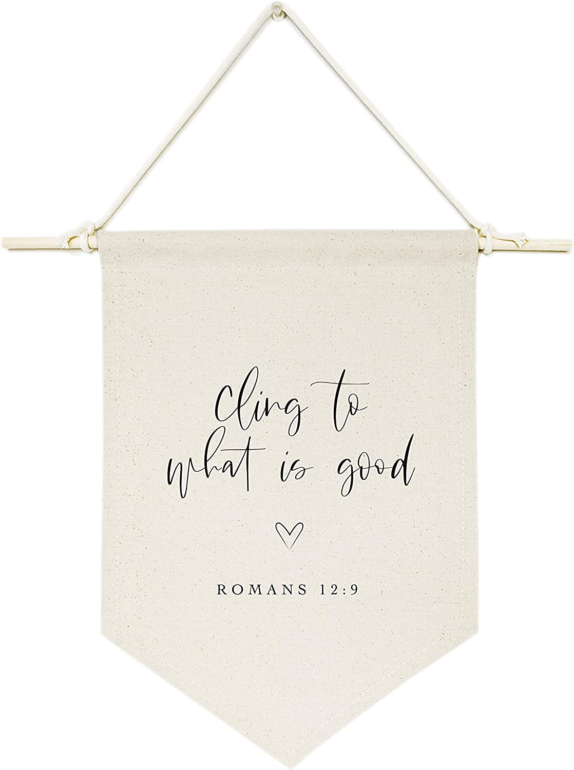 The Cotton & Canvas Co. Cling to What is Good, Romans 12:9 Bible Verse, Religious, Scripture Hanging Wall Canvas Banner