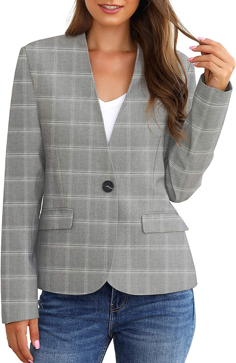 GRAPENT Women's Business Casual Pocket Work Office Blazer Back Slit Jacket Suit A Grey Plaid xSobv