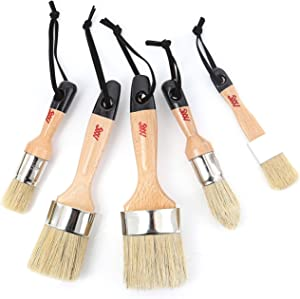 Chalk Wax Paint Brush 5PCs set including 3 small paint brushes for furniture painting and 2 large chalk brushes, bristle paint brushes set compatible with Annie Sloan chalk paint, fusion mineral paint