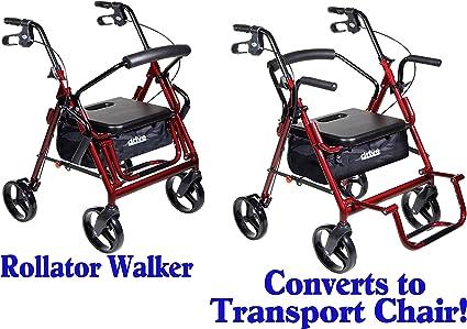 Amazon.com: Rojo Convertible Rollator Walker y el transporte ...