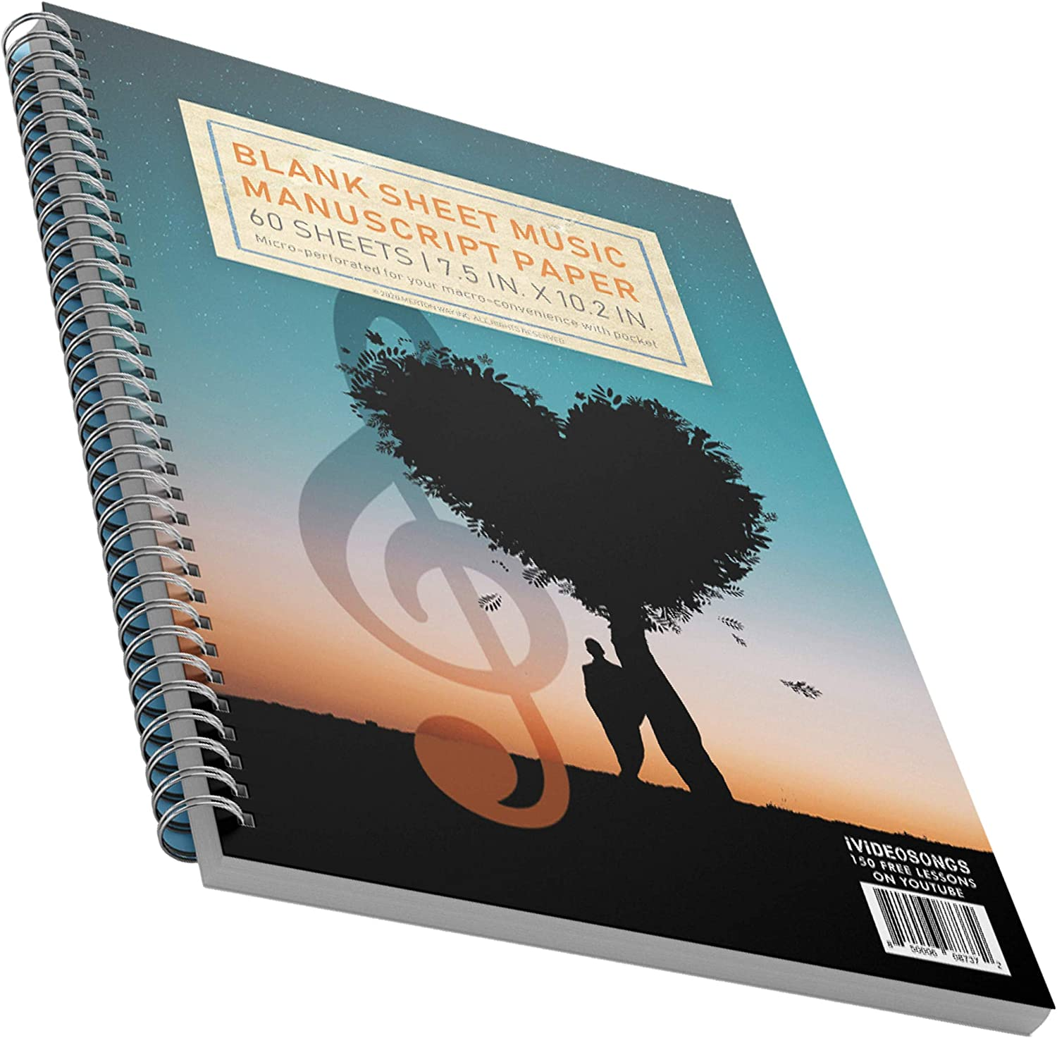 iVideosongs Blank Sheet Music Composition Manuscript Music Notebook • 12 Staff per Page • 120 Pages (60 Sheets) • 150+ Lessons
