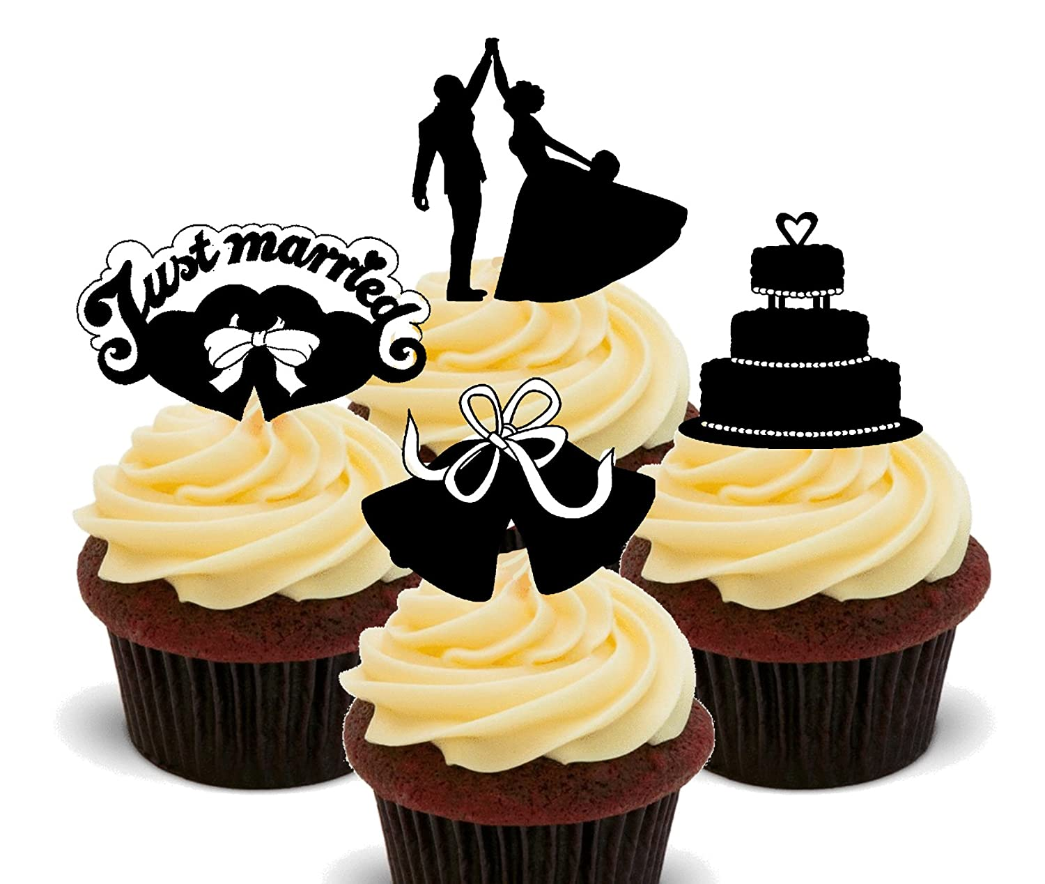 Just Married - Wedding Silhouettes Edible Cupcake Toppers - Stand-up ...