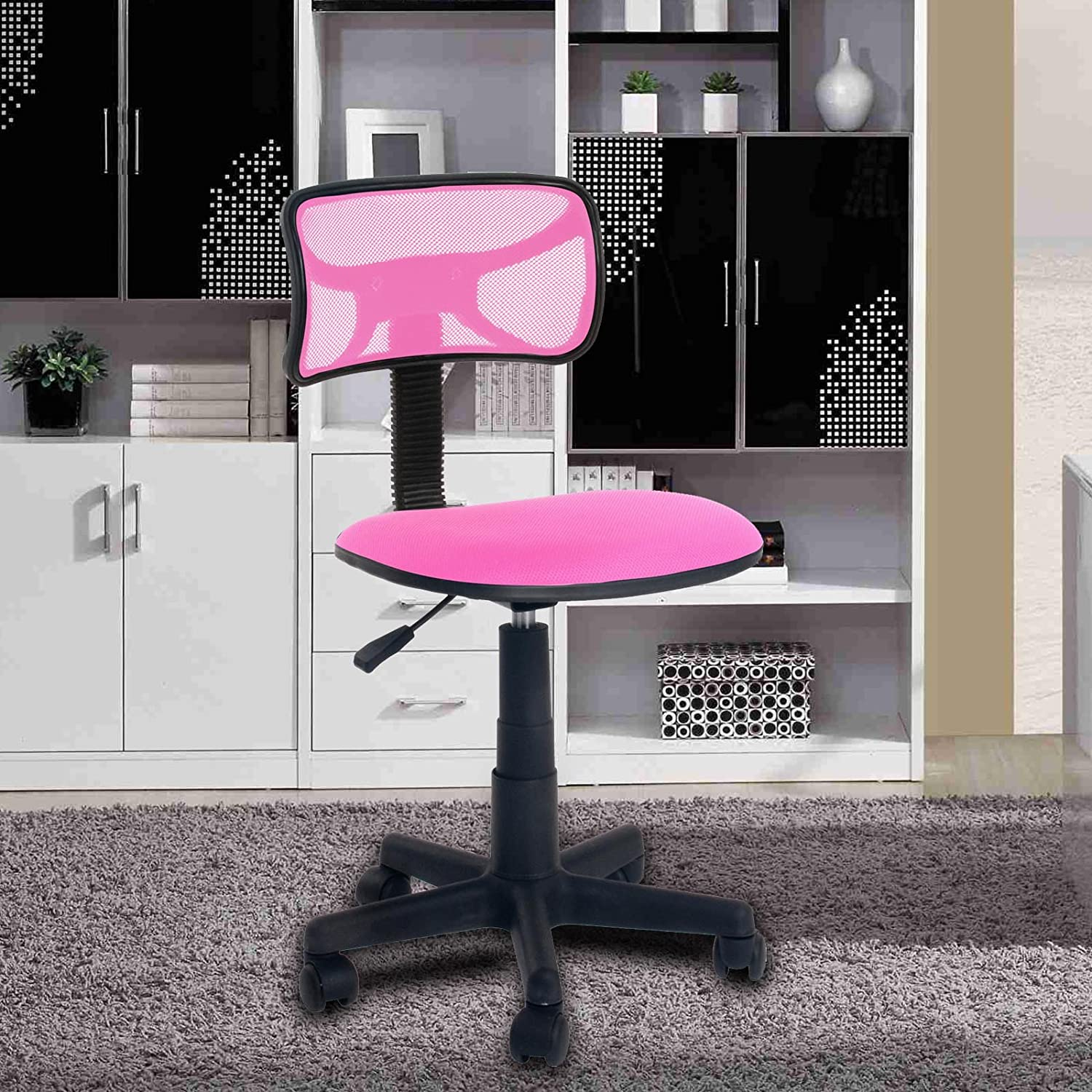 Amazon.com : Office Chair FurnitureR Kids Chair Modern Ergonomic Low Back  Computer Chair Office Desk Chair Without Arms With Fabric Pads Pink : Office  ...