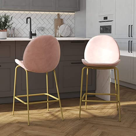 Excellent Cosmoliving By Cosmopolitan Astor Upholstered Counter Pink Velvet With Brass Metal Leg Bar Stool Gmtry Best Dining Table And Chair Ideas Images Gmtryco