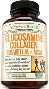 Glucosamine Sulfate Collagen Chondroitin Supplement with Boswellia, MSM, Bromelain, Quercetin and Methionine. Joint Support for Mobility. Aids Healthy Muscle, Cartilage, Bones, Hair, Skin and Nails