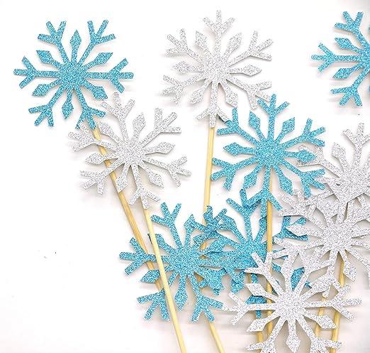 PuTwo 20 Cuenta Boda decoración de Pasteles Frozen Cupcake Toppers Palillos, Color Plateado/Azul/Nieve