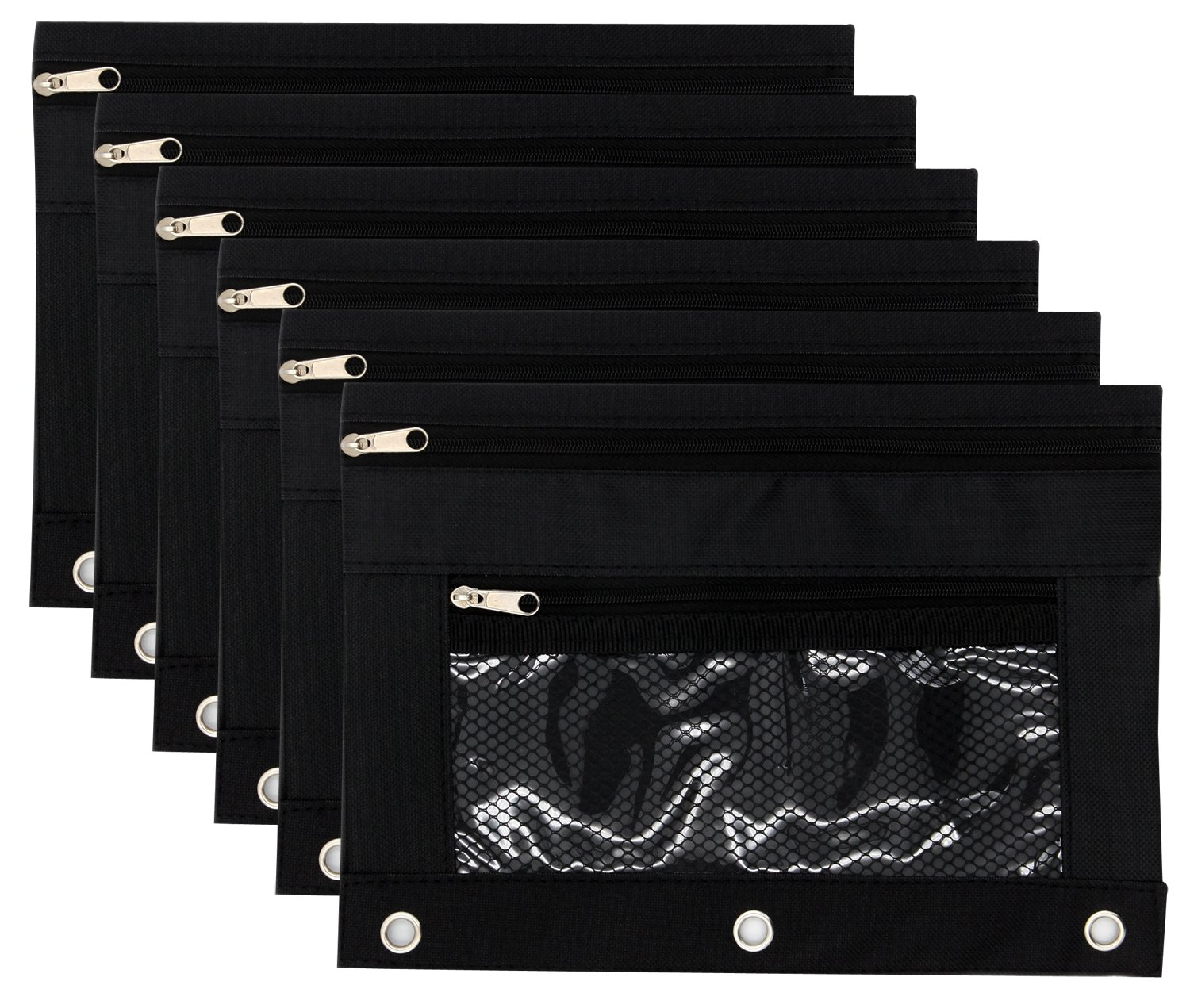 Pencil Case Pencil Pouch Zipper with 3 Ring and Double Pocket and Mesh Window(Black,6 Pack)