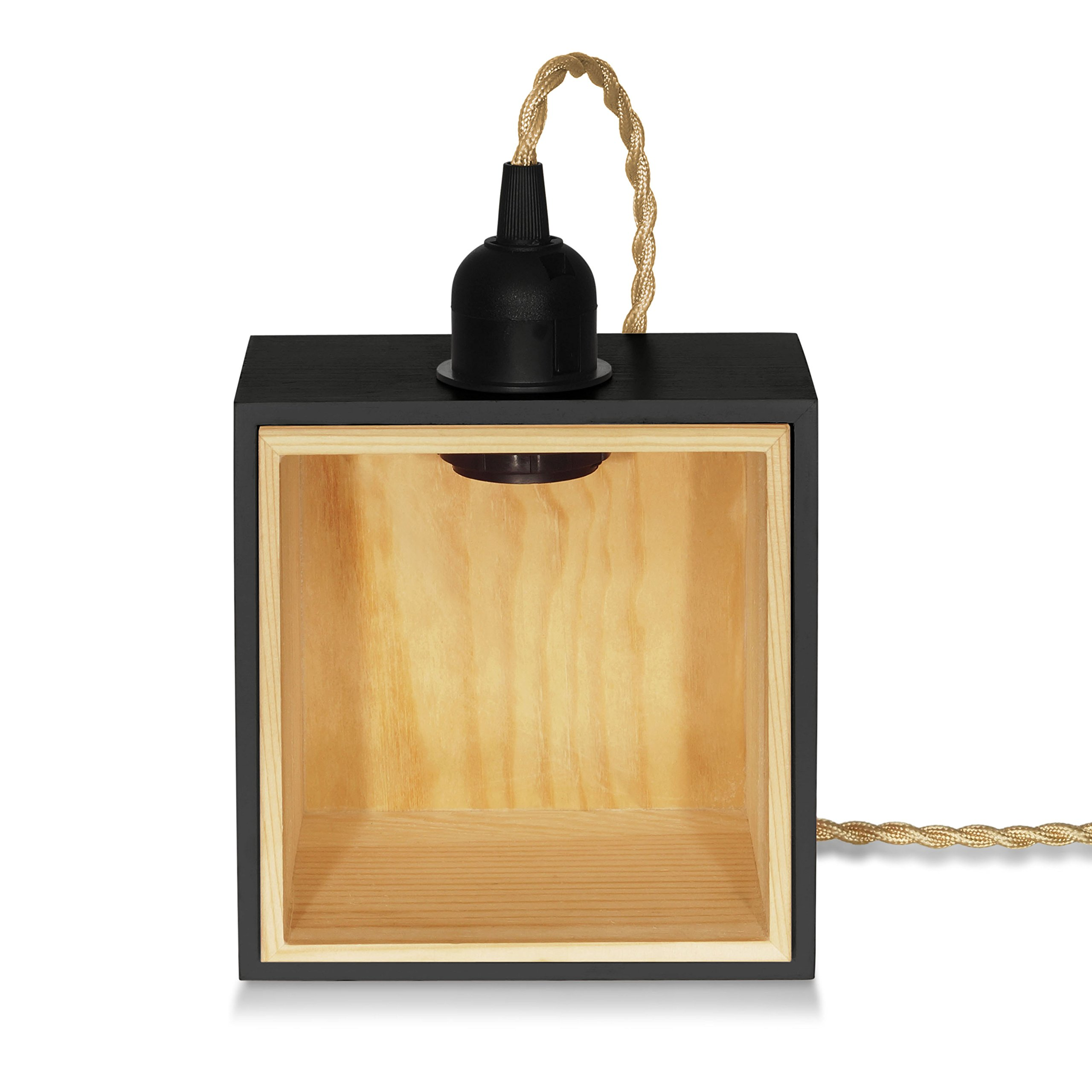 Private Corner Wooden Lamp - Black | Handmade Pine Wood (FSC) | Lamp x 1pc (Light Bulb Not Included) | Special Offer and Product Promotion, Get Free Light Bulb | 1-Year Warranty