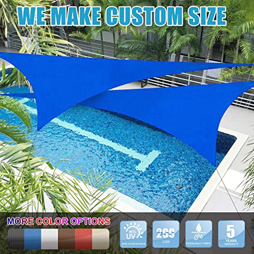 Amgo Custom Size 26 x 26 x 26 Blue Triangle Sun Shade Sail Canopy Awning, 95 UV Blockage, Water Air Permeable, Commercial and Residential Available for Custom Sizes