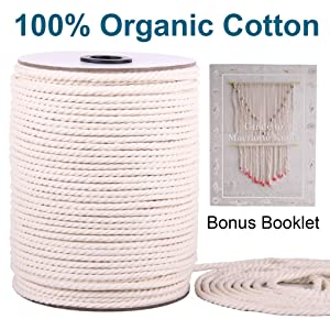 Macrame Cord 3mm x 220Yards | 100% Natural Macrame Rope | 3 Strand Twisted Cotton Cord for Wall Hanging, Plant Hangers, Crafts, Knitting, Decorative Projects | Soft Undyed Cotton Rope