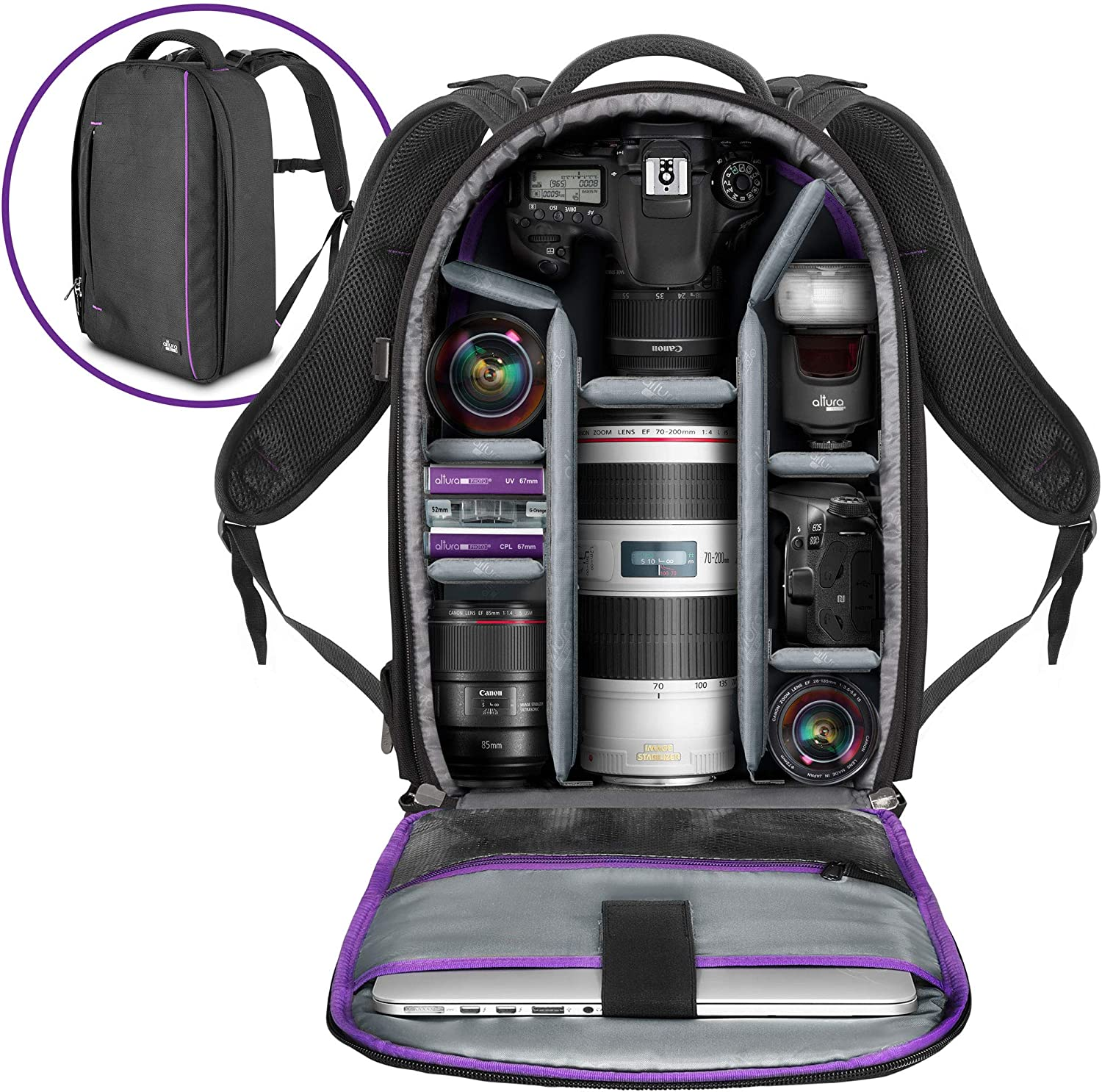 Amazon Com Camera Backpack With Laptop Case For Canon Nikon Sony Mirrorless And Dslr Camera Flash Light And Other Photography Accessories Large Capacity Black Bag With Tripod Holder By Altura Photo
