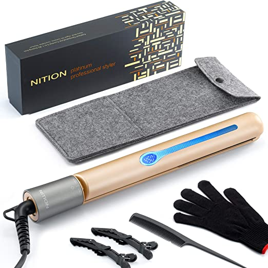 NITION Professional Salon Hair Straightener Argan Oil Tourmaline Ceramic Titanium Straightening Flat Iron for Healthy Styling,LCD 265°F-450°F,2-in-1 Curling Iron for All Hair Type,Gold,1 inch Plate best flat iron