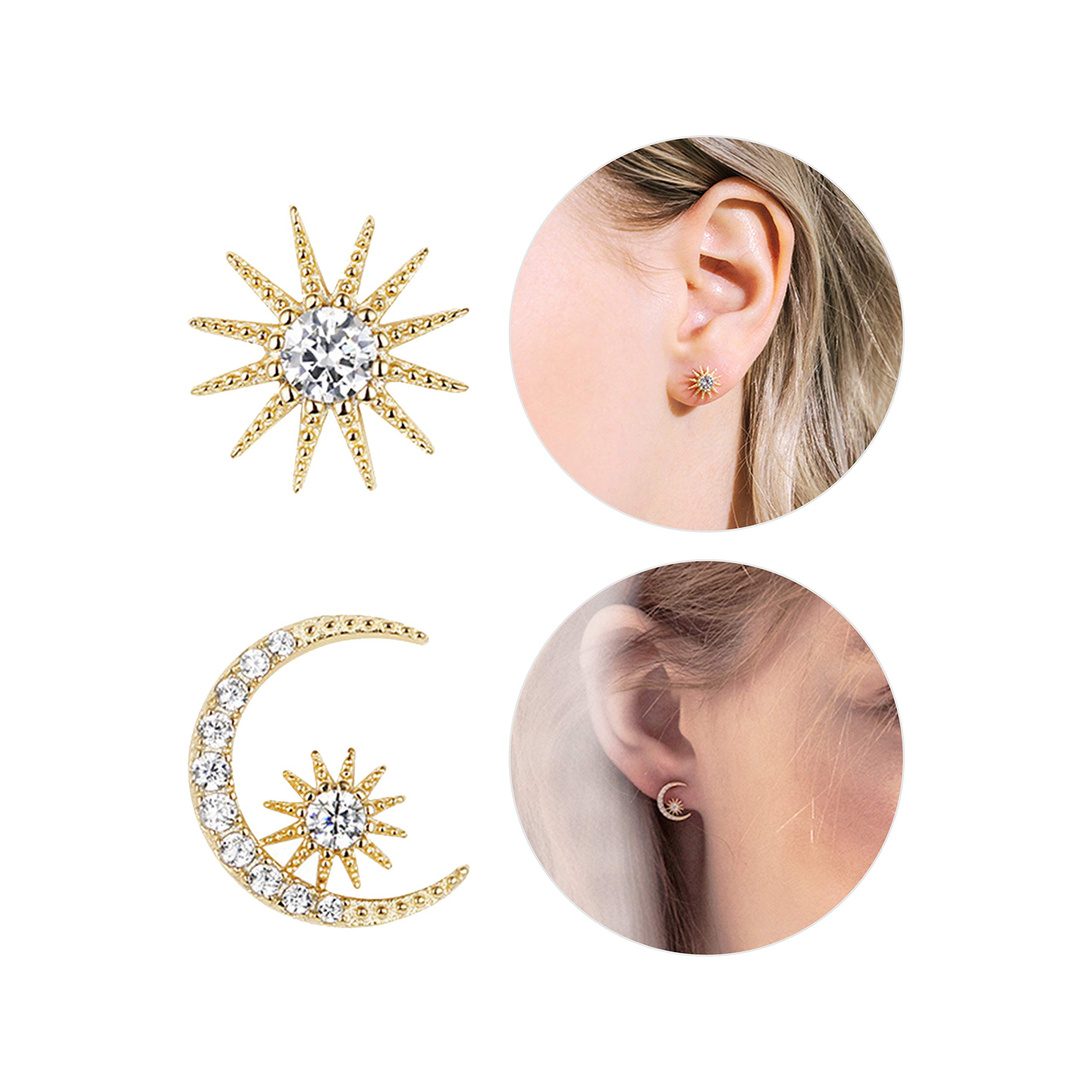 Fashion Gold Star and Moon Asymmetric Stud Earrings for Women