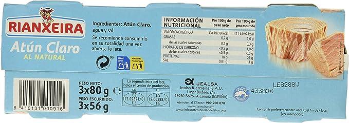 Rianxeira, Conserva de atún claro al natural - 18 latas de 80 gr. (Total: 1440 gr.)