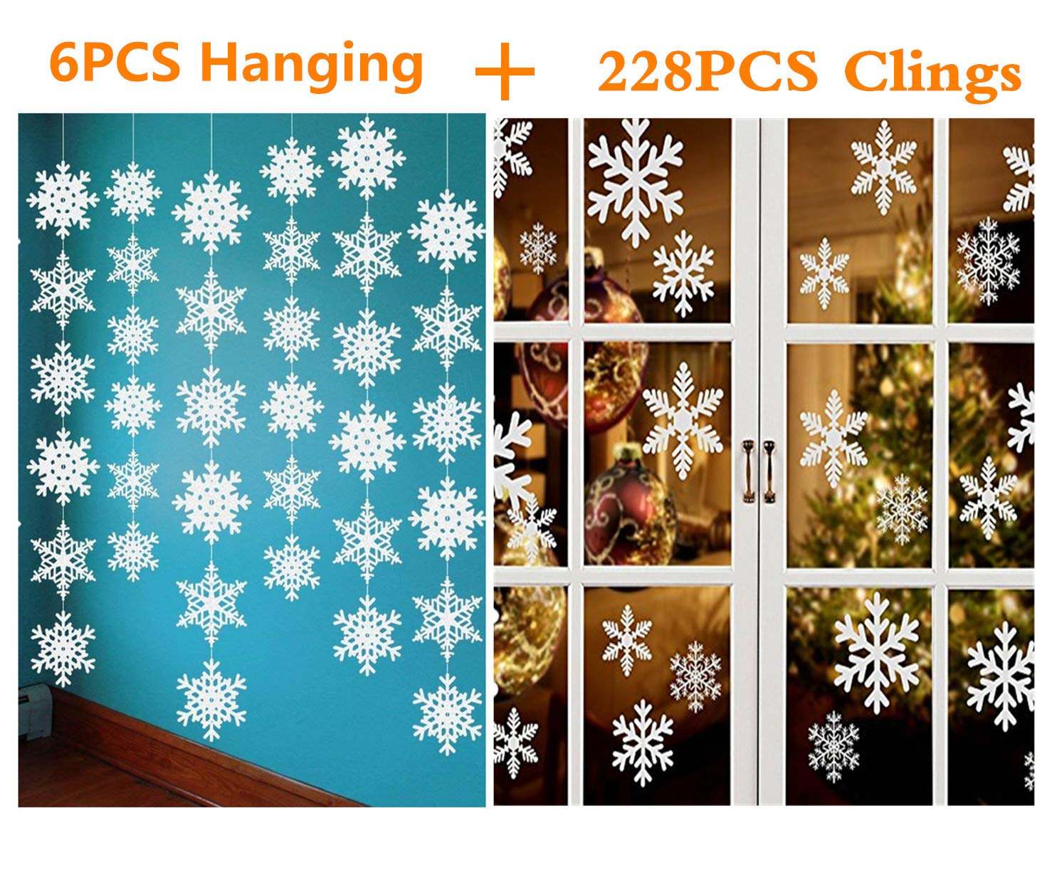 Beschoice 228 Christmas Snowflake Window Clings, with 6PCS Christmas Hanging Party Decorations Supplies