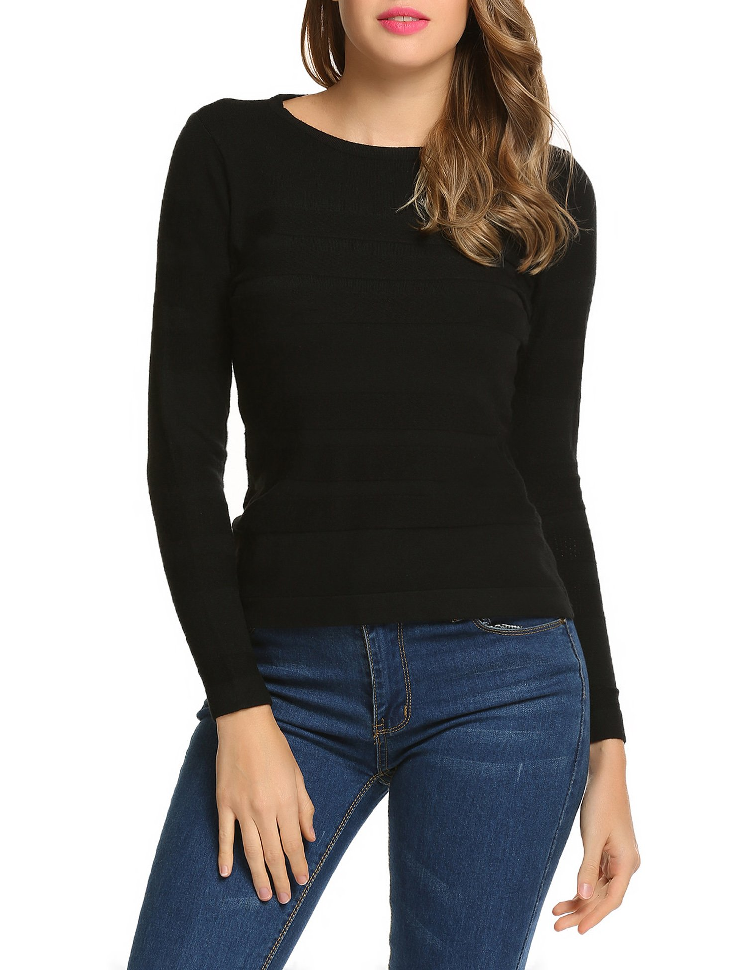 UNibelle Women's Pure Cashmere Long Sleeve Pullover Crew Neck Sweater(Black,XX-Large)