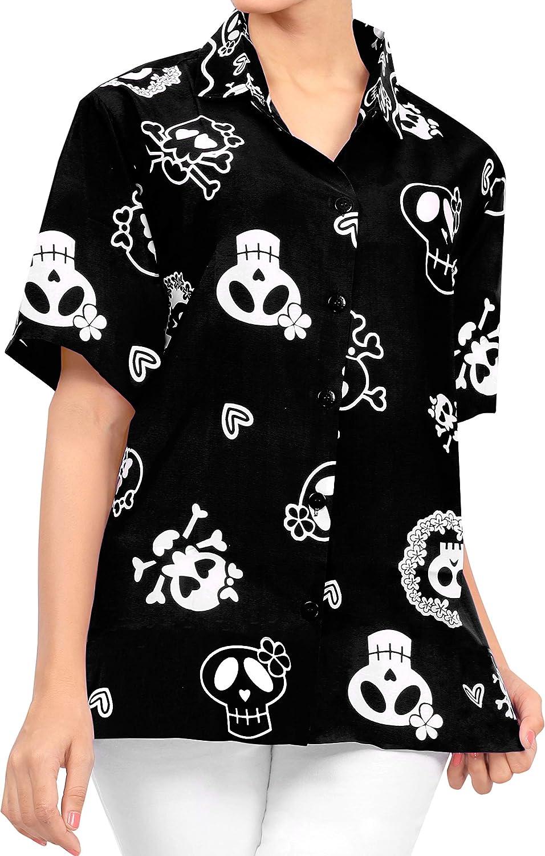 LA LEELA Casual Camisa Hawaiana Manga Corta Bolsillo Delantero hombre impresión De Hawaii Playa Cráneo Cosplay Vintage Piratas esqueleto Calabaza Skulls Disfraces De Fiesta De Halloween Costume XS-7XL