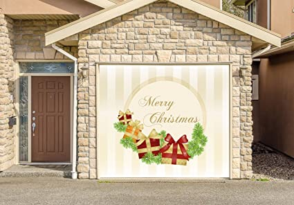 Christmas Decor Banner SINGLE CAR GARAGE DOOR MURALS Covers Outdoor Home  Decor Door Cover Billboard Full