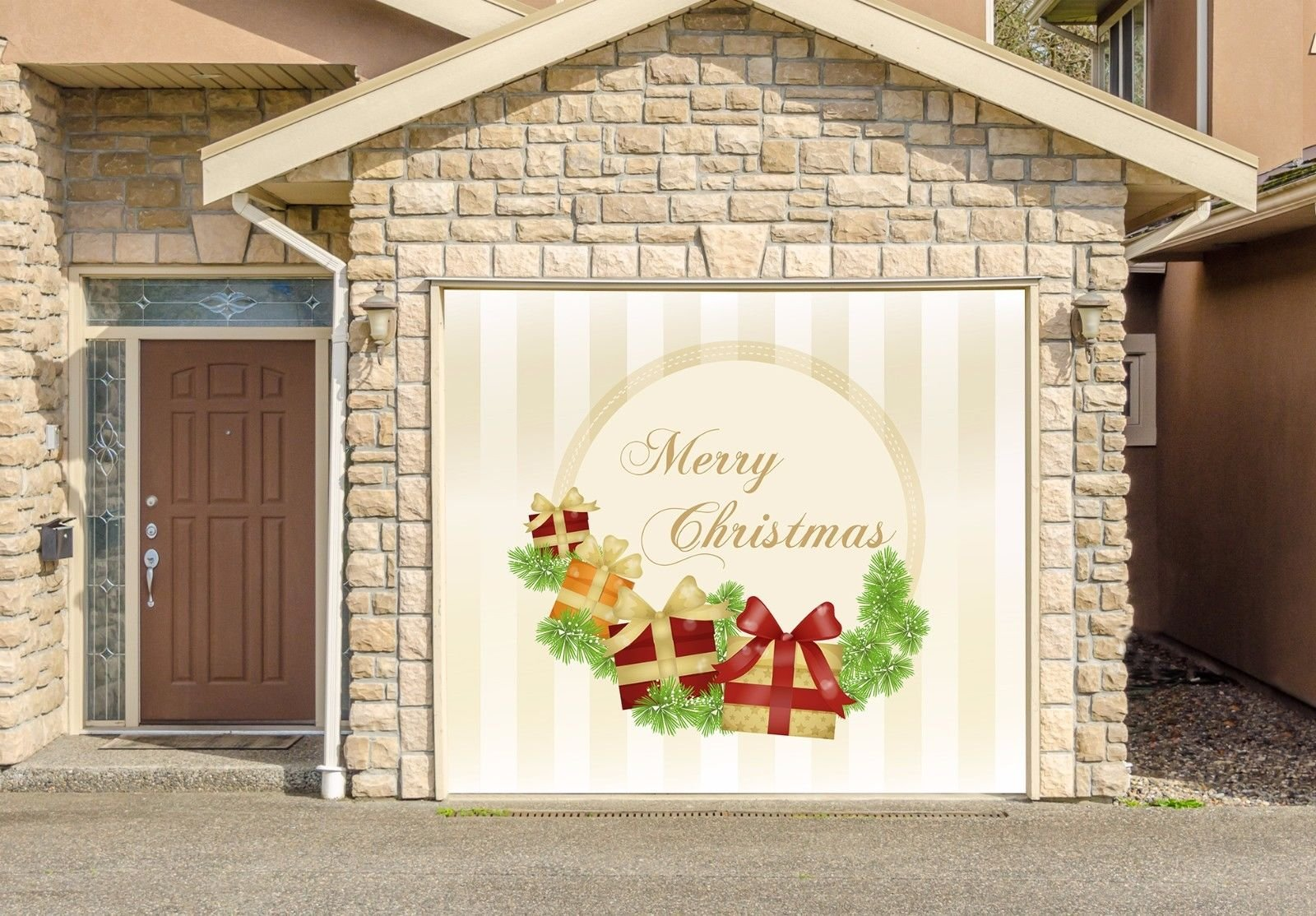 Christmas Decor Banner SINGLE CAR GARAGE DOOR MURALS Covers Outdoor Home Decor Door Cover Billboard Full Color 3D Effect Print Door Decor Decorations of House Garage Holiday Size 83 x 89 inches DAV62 by WallTattooHome