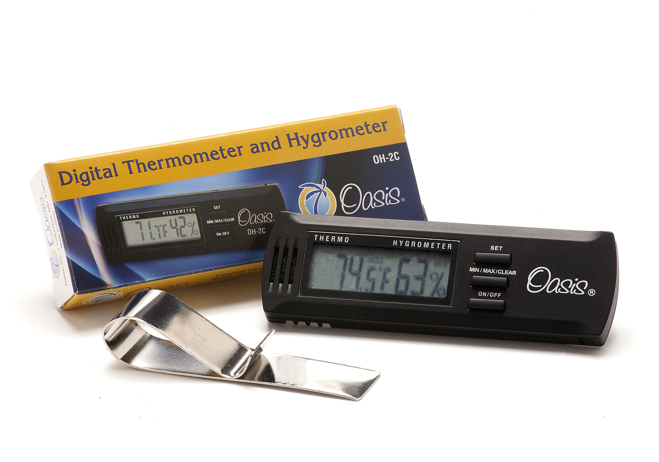 Oasis OH-2C Digital Hygrometer (replacement for OH-2) with Calibration Feature and Case Clip