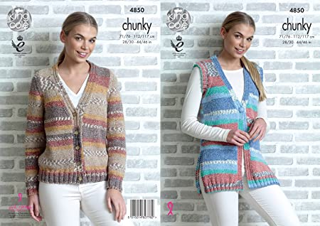 091bf35a48ce3 Image Unavailable. Image not available for. Colour  King Cole 4850 Knitting  Pattern Womens Cardigan and Waistcoat in King Cole Drifter Chunky