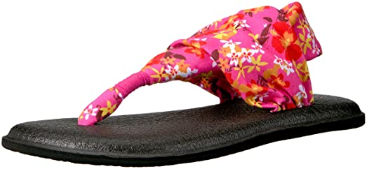 Yoga Sling 2 Prints Damen US 5 Orange Badesandale Sanuk