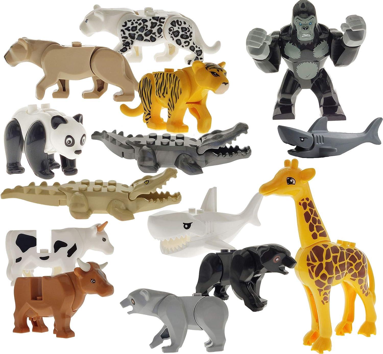14PCS Idea City Animals Building Blocks Bricks Set Mini Zoo Figures Model Crocodile Panda Shark Various Educational Gift Toys 100/% Compatible