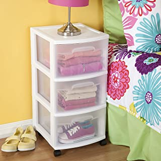 product image for 28308002 3 Drawer Cart, White Frame with Clear Drawers and Black Casters