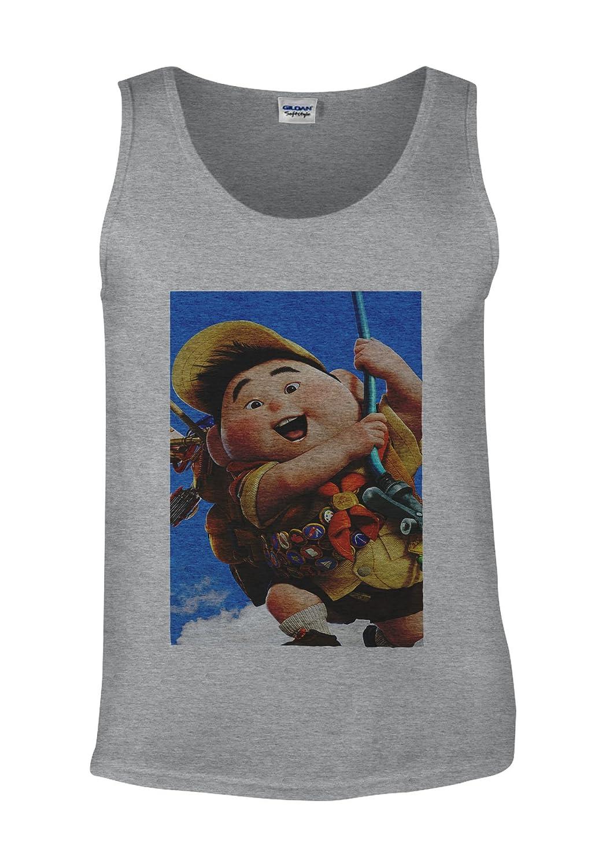 Up Pixar Animation Fat Kid Fly Baloon White Men Vest Tank Top